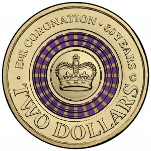 Royal Australian Mint Anniversary Coronation $2 Colored Coin