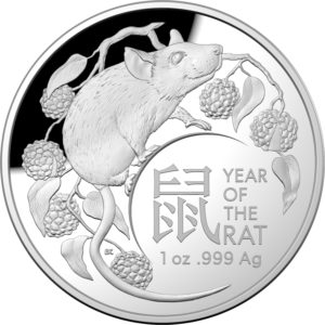 2020 Year of the Rat Domed Silver Proof Coin