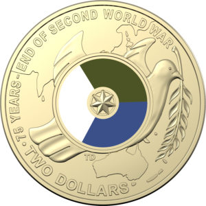 2020 75th Anniversary End of WWII Colored $2 Al/Br Coin